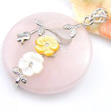 Natural Rose Quartz Flower Carved Shell Gemstone Solid Silver Necklace Pendants