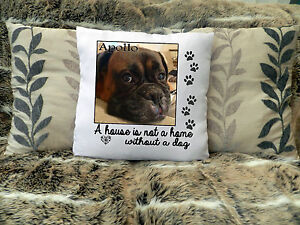 """LOVELY PERSONALISED CUSHION COVER 16""""x16""""  PHOTO GIFT BIRTHDAY PET DOG CHRISTMAS"""