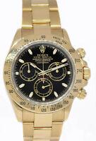 Rolex Daytona Chronograph 18k Yellow Gold Black Dial Mens 40mm Watch Y 116528