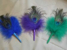Peacock and Marabou Feather Buttonholes Boutonnieres with Any Colour Ribbon