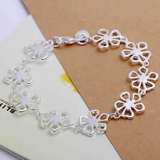 Bracelet fleur plaqué argent 925 19 cm  mixte homme femme
