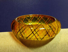 "1"" Apple Juice Bakelite Bangle Bracelet Reverse Carved Painted GEOMETRIC Design"