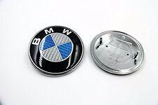 US SELLER-BMW Blue/White Carbon Fiber Emblem Roundel 82mm Front Hood/ Rear Trunk