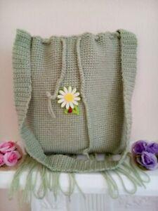 Handmade crochet handbag green  10  inch with 11.5  inch with daffodil