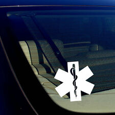 2 Pack Star of Life Ambulance EMT EMS Rescue Paramedic White Decal Stickers 5""