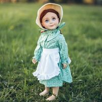 "18"" Doll Clothes LITTLE HOUSE DRESS APRON,STRAW BONNET OUTFIT FitS American Girl"
