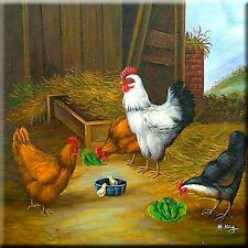 """Rooster, Hen and chicken Coaster  6"""" X 6"""" Tile Ceramic #17"""