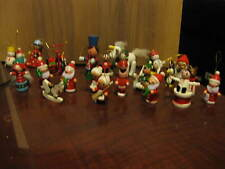 Lot Of 23 Vintage Wooden Christmas Tree Ornaments Plus One Metal Tricycle