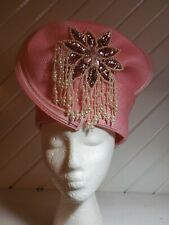 Vintage Sequin Beads Pink Woven Fancy Hat