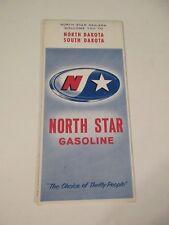 Vintage 1966 North Star North & South Dakota Oil Gas Station Travel Road Map