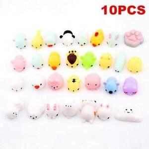 10x Cute Mini Animal Squishies Mochi Squeeze Toy Stretch Stress Soft Squishy Set