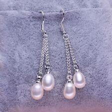 Wholesale 7-8mm Genuine Natural Freshwater Pearl Real 925 Silver Dangle Earrings