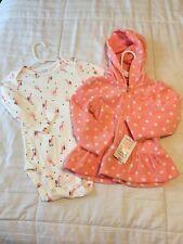New Baby Toddler Girl Carter 18 Months Fleece Jacket / Long Sleeve Bodysuit Set