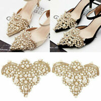 2Pcs Pearl Flower Shoe Clip Rhinestones Removable Pointed Shoes Sandals Decor