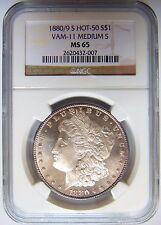 1880/9 S Silver Morgan Dollar $1 NGC MS 65 Vam 11 Rim Toned Graded Coin PL