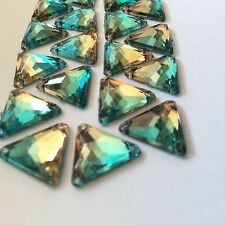 50 pcs x Sew On 12 mm Acrylic Rhinestones Green Brown Bi-Color Triangle Shape