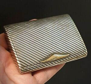 Beautiful GOLD and SILVER STERLING Cigarette Case Art Déco 149g