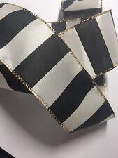 "Black White Wide Stripes Wire Edged Ribbon 2-1/2"" x 5 Yards"