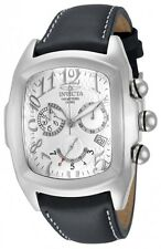 New Mens Invicta 13690 Lupah Swiss Chronograph Silver Dial Black Leather Watch