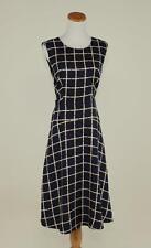 J.CREW $168 SILK-TWILL WINDOWPANE PRINT A-LINE DRESS 2 BLACK WORK OFFICE F5452