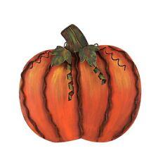 Metal Flat Swirled Leaf Pumpkin Free Standing Fall Harvest Thanksgiving Decor