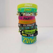 Zumba Wild for Zumba Rubber Bracelets - 10 Pack! 2 w/bells 1 Wide 7 regular