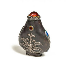 """Vintage Asian Chinese Tibetan Silver and Enamel Snuff Bottle Pear Shaped 3"""""""