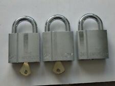 THREE (3) ABLOY FINLAND 241 PADLOCKS~KEYED ALIKE~Extra Strength Security~2 KEYS
