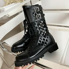 Fashion Punk Women Round Toe Buckle Strap Boots Hollow Out Leather Shoes size