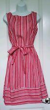 Land's End Red/White Striped 100% Cotton Dress Sz. 10