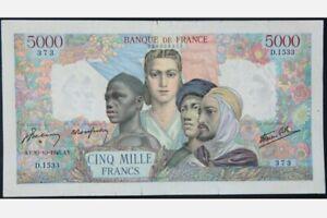 Scarce Rare Genuine Vintage 1945 France 5000 Francs Huge BIG Banknote in Gem UNC
