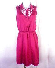 NWOT Material Girl Magenta Cut Out Lattice Design Sleeveless Dress sz L