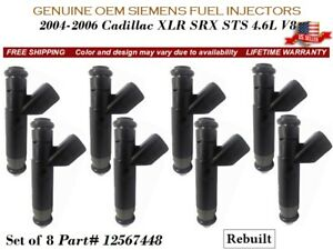 8 Fuel Injectors OEM Siemens 2004-2006 Cadillac XLR SRX STS 4.6L V8 #12567448