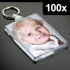 100x Premium Quality Clear Acrylic Blank Keyrings Key Fobs 73 x 51 mm | Jumbo