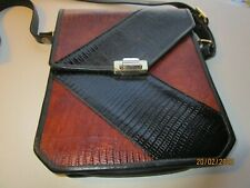 New listing Vintage Brown Black Hand-Crafted Real Leather Handbag with Strap