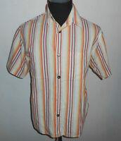 180 45 SIGNUM Designer Hemd Gr.M  / L weiß orange gelb rot gestreift Kurzarm