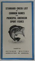 1958 CHECK LIST OF COMMON NAMES FOR AMERICAN SPORT FISHES         (INV3381)