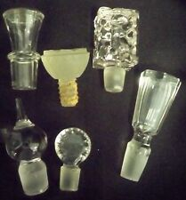"Lot 6 Smaller Crystal Glass Decanter Bottle Stoppers Perfume 1 5/8"" - 2 3/4"""