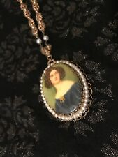 Vintage Woman Cameo Necklace Gold Tone Filigree Faux Pearl Details
