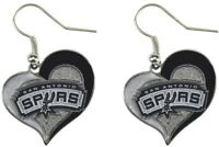 SAN ANTONIO SPURS - SWIRL HEART LOGO - DANGLE EARRINGS - NBA-ER-245-20