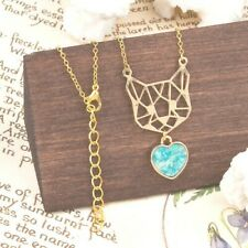 Origami Cat Necklace Mint Heart Charm Jewelry Gold Pet Pendant Adjustable