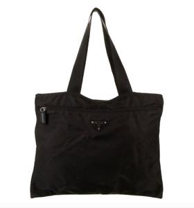 Authentic Vintage Prada Tessuto Shopper Tote Bag Black Nylon