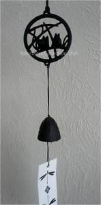 Japanese Windchime Furin Nambu Black Cast Iron Cricket W/Bell Pattern/Made Japan