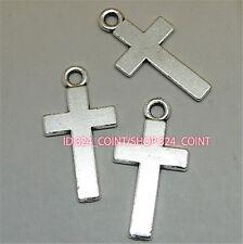50pc Tibetan Silver CROSS Charm Beads Pendant accessories wholesale P1042B