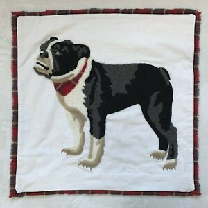 New Pottery Barn Christmas Embroidered Bulldog Pillow COVER , 20 Inches, Multi