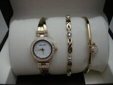 Authentic Anne Klein Gold Tone Women's Watch and Bracelet Set