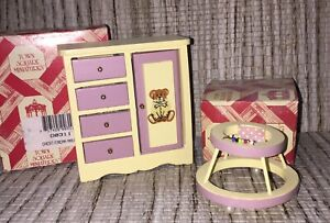 DOLL HOUSE MINIATURE NURSERY CHEST AND WALKER