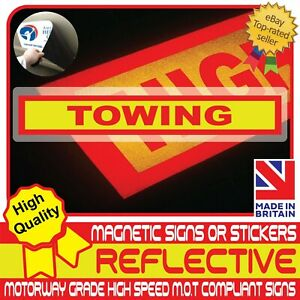 TOWING Sign Fully Reflective Car Magnetic Sign or Vehicle Sticker High Vis
