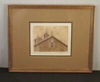 Vintage Architectural Drypoint Etching Signed Haller Country Barn With Cupolas!