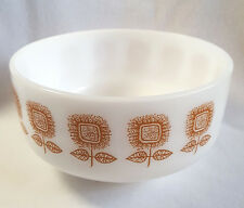 Federal Milk Glass Bowl Sunflower Autumn Fall Colors Brown Heat Proof 2.5 quart